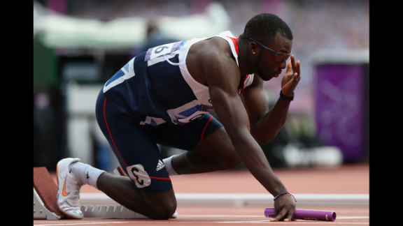 Nigel Levine of Great Britain prepares for the start of the men