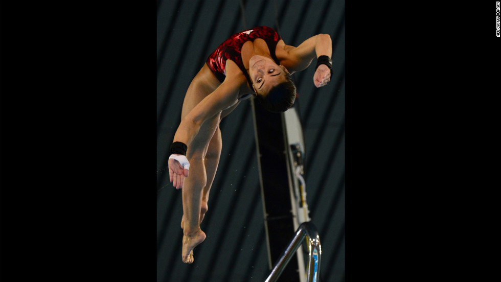 Canada's Meaghan Benfeito competes in the women's 10-meter platform semifinals.