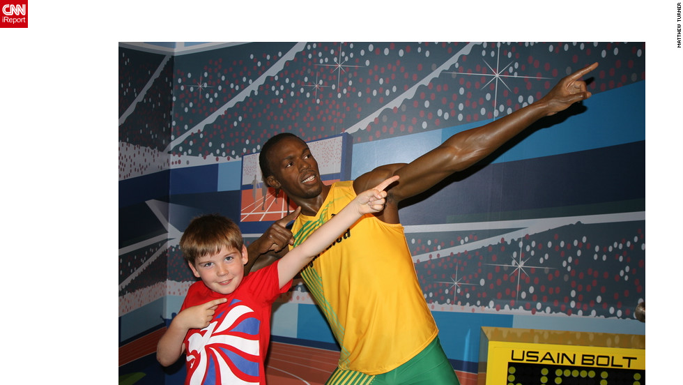 "Matthew Turner's son, Miles, is a huge Usain Bolt fan. So when the Crewe, UK family visited London for Miles' first trip, they visited Madame Tussaud's, and Miles immediately ran to pose with his idol. ""He loves doing the pose when he's done something good, I think he sees it as a symbol of triumph and achievement,"" said Matthew.<br />"