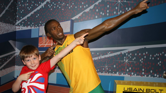 """Matthew Turner's son, Miles, is a huge Usain Bolt fan. So when the Crewe, UK family visited London for Miles' first trip, they visited Madame Tussaud's, and Miles immediately ran to pose with his idol. """"He loves doing the pose when he's done something good, I think he sees it as a symbol of triumph and achievement,"""" said Matthew."""