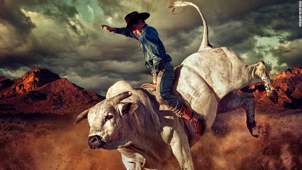 Chris Clor's dramatic photograph of this bull rider won the Communication Arts Photography Competition. Combining separate shots of the bull, the rider, Superstition Mountains and the sky, he knitted them together in Photoshop. Although it was shot for a client selling boots, the image represents a possible reality because of Clor's composition.