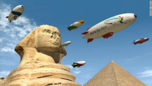 The World Sky Race will take airships over famed world landmarks, including the great Egyptian pyramids.