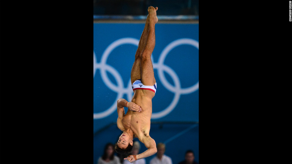 Britain's Thomas Daley competes in the men's 10-meter platform preliminary round during the diving event.