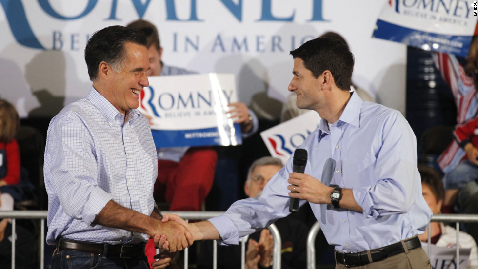 Ryan introduces Romney at a town hall meeting in Milwaukee, Wisconsin, on April 2, 2012.