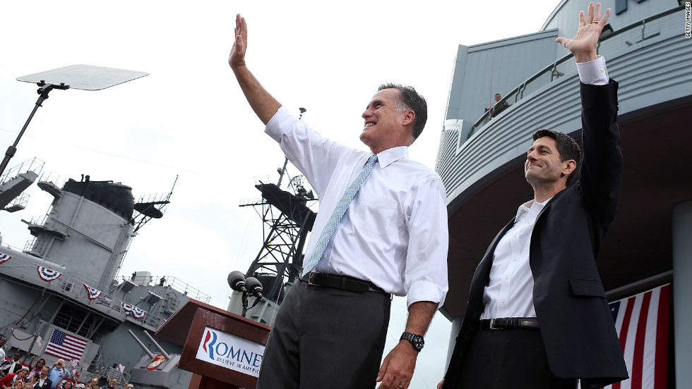 Romney and Ryan wave to supporters.