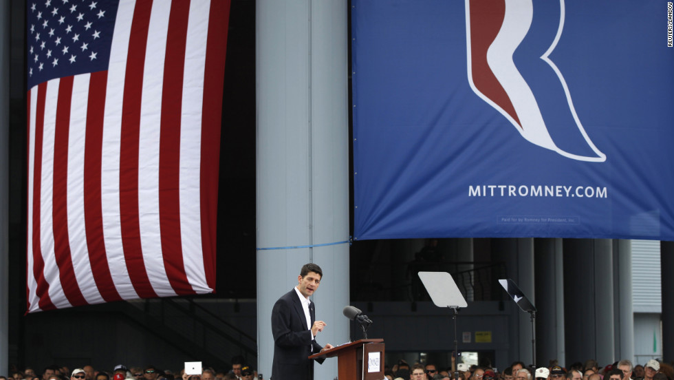 Ryan speaks after Romney introduces him as his running mate.