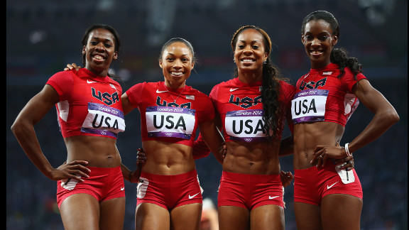 DeeDee Trotter, Allyson Felix, Sanya Richards-Ross and Francena McCorory, from left to right, are all smiles after winning gold in the women