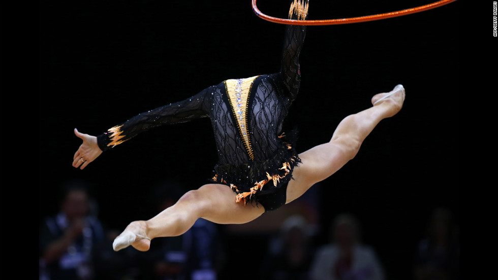 Belarus' Liubou Charkashyna adds an extra level of difficulty by performing her hoop routine without a head.