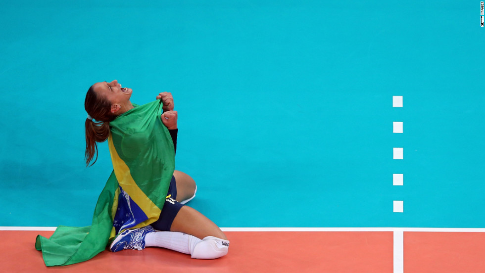 No. 14 Fabiana Oliveira of Brazil reacts after defeating the United States to win the women's volleyball gold medal match.