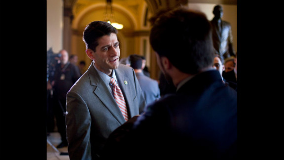 Ryan speaks to the media in 2009 about President Barack Obama