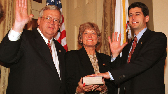 Speaker of the House Denis Hastert, left, administers the oath of office to Ryan at the beginning of his first term as representative of Wisconsin on January 6, 1999.