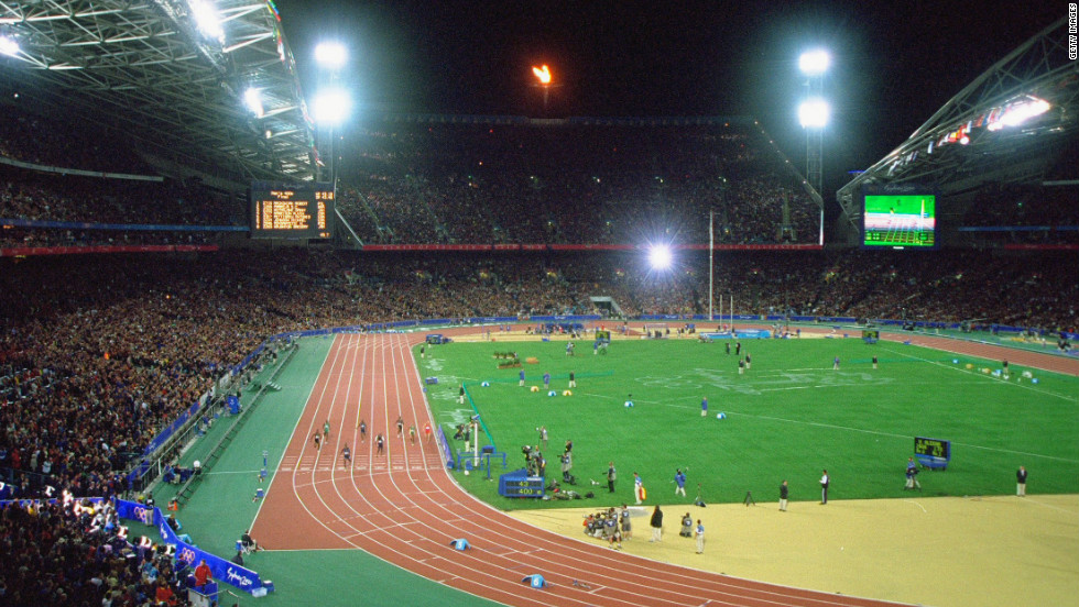 The 2000 Olympic Stadium in Sydney, Australia; the venue for the 4x400m men's showdown in which Nigeria would finish second on the night to America.