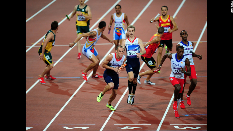 Jack Green of Great Britain and David Greene of Great Britain compete during the men's 4 x 400-meter relay final.