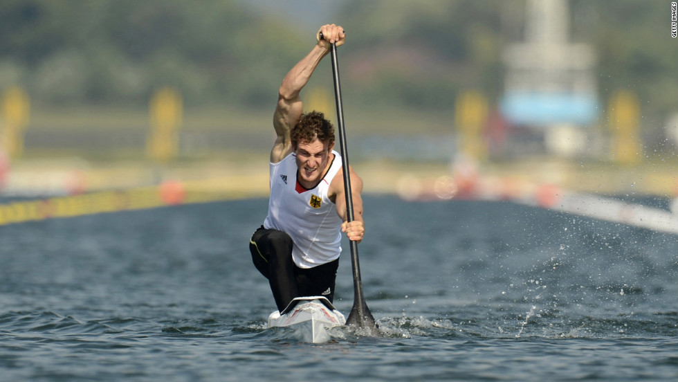 Sebastian Brendel of Germany competes in the men's canoe single 200-meter sprint final.