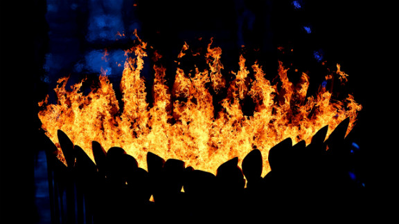 The Olympic Cauldron burns during the closing ceremony. Look back at photos from the opening ceremony.