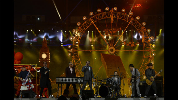 """Madness perform their 1982 hit """"Our House"""" during the closing ceremony."""