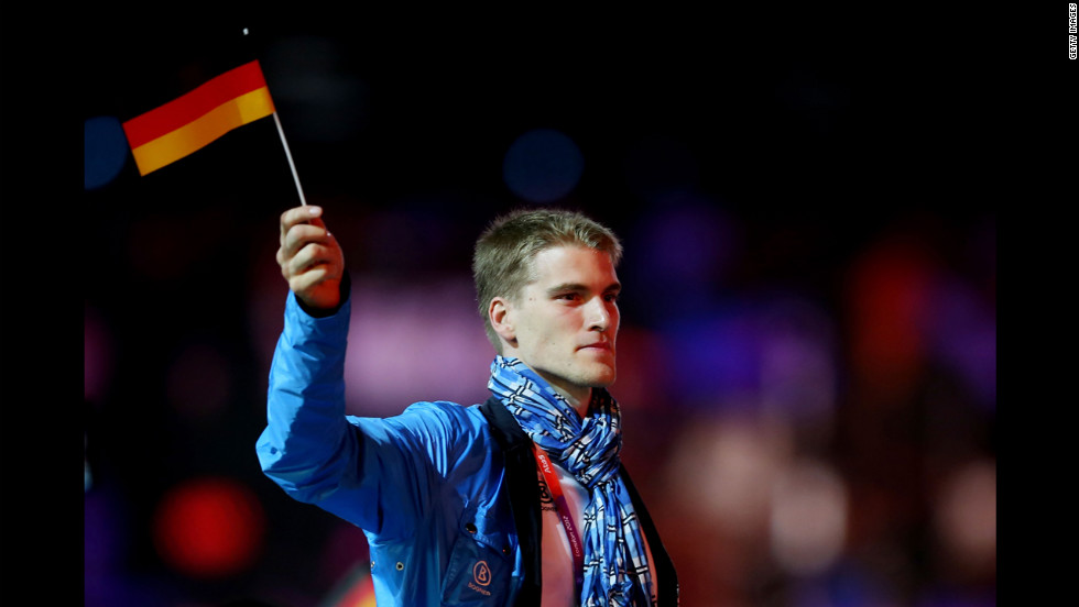 An athlete from Germany parades through the stadium during the closing ceremony of the 2012 Olympic Games.