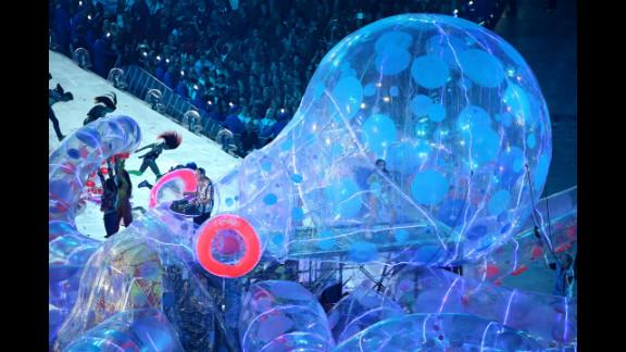 Fat Boy Slim, aka Norman Cook, during the closing ceremony.