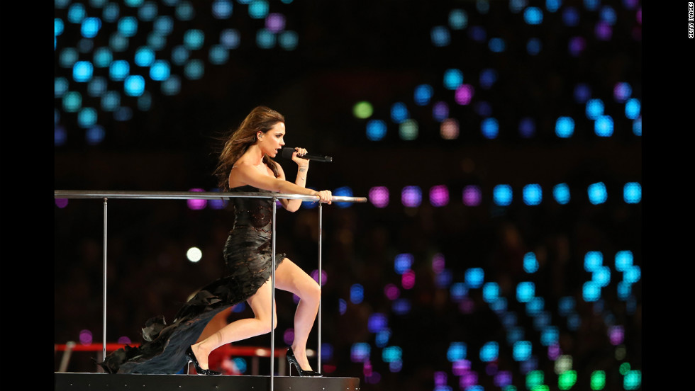 Victoria Beckham of the Spice Girls performs.