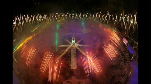 Fireworks explode over the stadium during the closing ceremony.