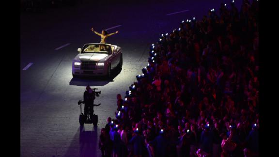 British singer Jesse J inside the Olympic stadium.