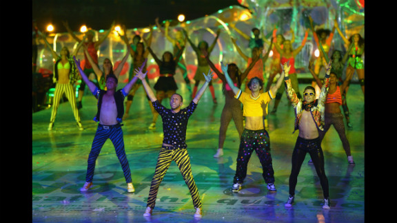 Brazilian artists perform during the closing ceremony.