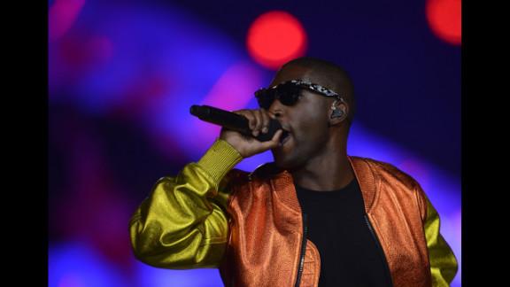 British rap singer Tinie Tempah performs at the Olympic stadium.