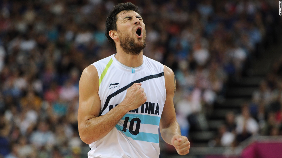 Carlos Delfino of Argentina reacts to a call during the men's basketball bronze medal game against Russia.