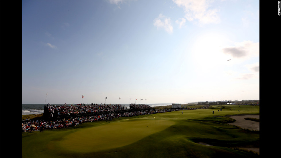 A general view of the 18th hole during the final round.