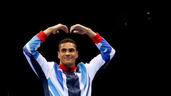 Anthony Ogogo of Great Britain poses for a music box.