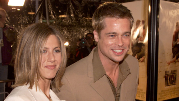 "Brad Pitt and Aniston, shown here at the premiere of ""The Mexican"" in 2001, began dating in 1998. The pair married in 2000 and announced their separation in 2005, the same year Pitt and Angelina Jolie's ""Mr. and Mrs. Smith"" hit theaters."