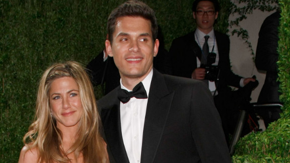 "John Mayer and Aniston, pictured here in 2009, dated on and off for about a year. Though his ""Shadow Days"" are over now, in 2010 Mayer opened up to Rolling Stone about his split with Aniston, saying, ""I've never really gotten over it. It was one of the worst times of my life."""