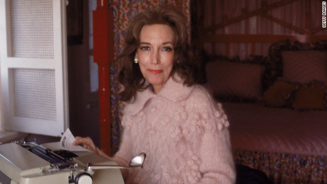 "Helen Gurley Brown sits at the typewriter in her New York apartment in 1979. Brown is the author of the best-selling book ""Sex and the Single Girl"" and former editor-in-chief of Cosmopolitan."