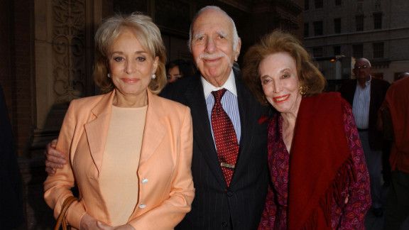 Broadcast journalist Barbara Walters poses for a portrait with Gurley Brown and her husband, David, as they arrive for the opening night of the 2002 JVC Jazz Festival at Carnegie Hall in New York.