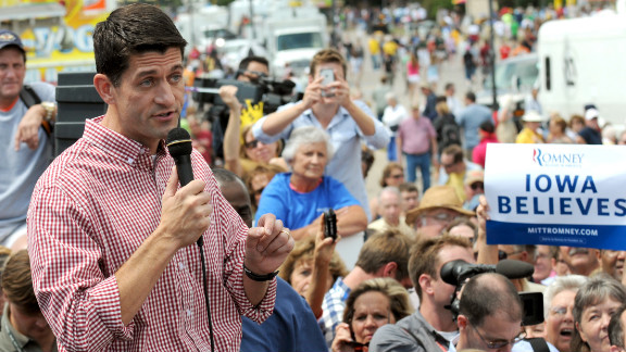 Rep. Paul Ryan of Wisconsin speaks during a campagin stop at the Iowa State Fair in Des Moines on August 13, 2012. It was the newly minted GOP vice presidential candidate