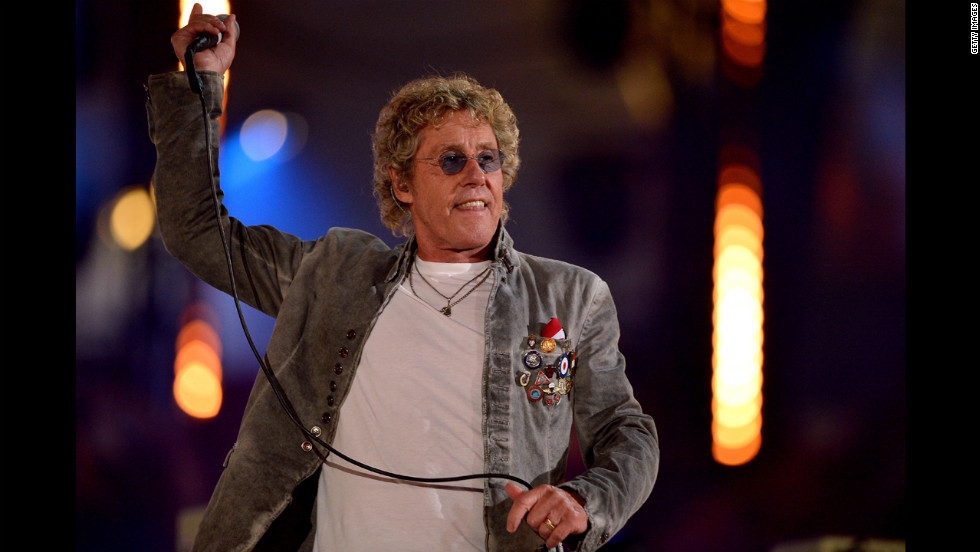 Roger Daltrey of The Who performs during the finale of the closing ceremony.