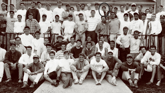 Sporting a turtleneck, Paul Ryan, center, back row, is shown here in 1990 with his Miami University fraternity Delta Tau Delta, from the school