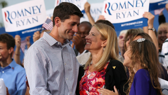 VP candidate Rep. Paul Ryan greets his wife, Janna Little Ryan, during a rally in Waukesha, Wisconsin, on August 12.
