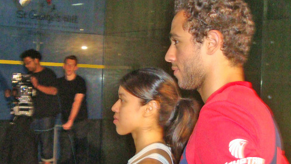 David was joined at the promotional shoot by Ramy Ashour, the Egyptian who is ranked fourth in the men