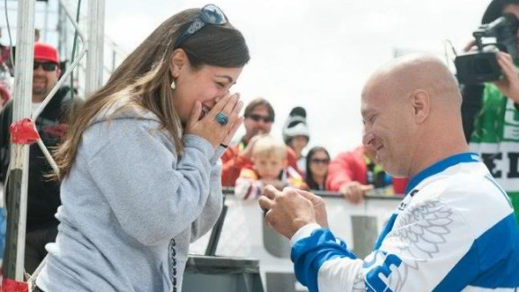 """BMX rider Todd Lyons took a knee in April at a national BMX race in Chula Vista, California, and popped the question to Mare Galletti, his girlfriend of three years. """"People constantly tell us what an awesome proposal it was and how awesome it is to have it all captured,"""" Galletti said. See more on Lyons"""