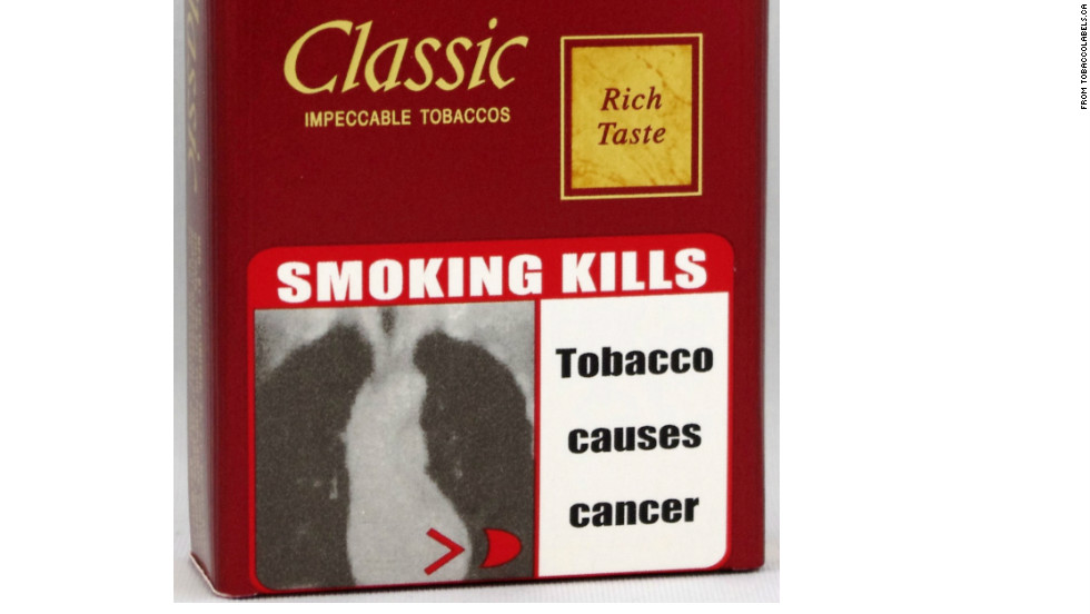 According to the World Health Organization, picture warnings are required on tobacco packages in 42 countries, like this graphic warning in India.