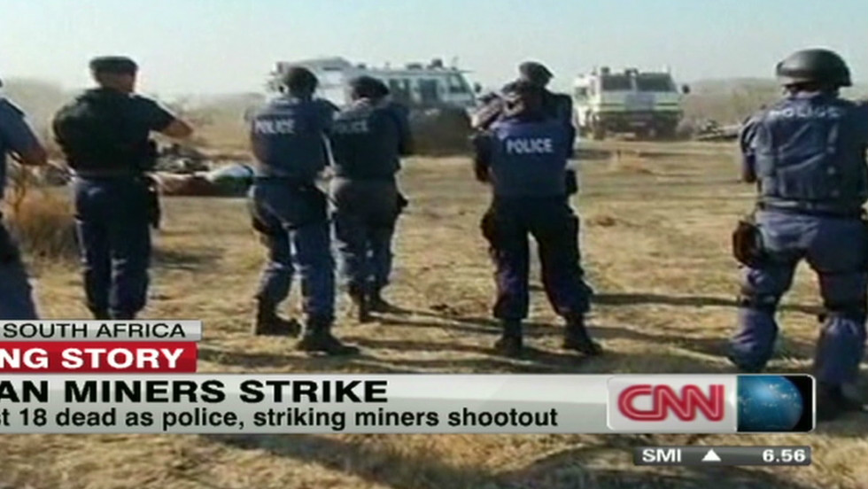 Last August. 34 striking mineworkers at Marikana were shot dead in under 30 minutes by police.