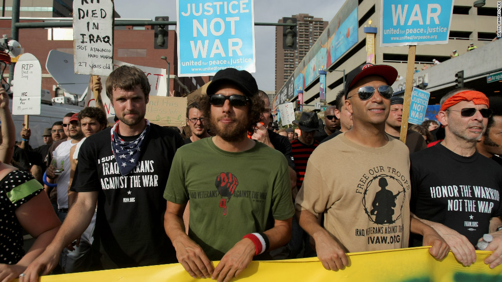 One of Paul Ryan's favorite bands, Rage Against the Machine, protests the Iraq War in Denver in 2008 shortly before heading to Minneapolis to protest the Republican National Convention.