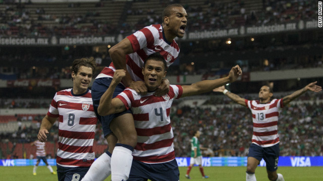 Michael Orozco Fiscal celebrates his late winner for the U.S. against Mexico on Wednesday.