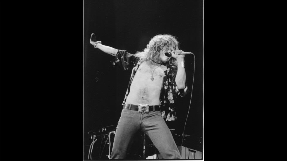 Robert Plant of Led Zeppelin performs in the late 1970s.