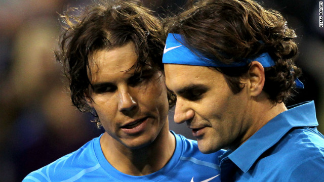 Rafael Nadal (left) and Roger Federer have played each other 28 times over the last nine years.