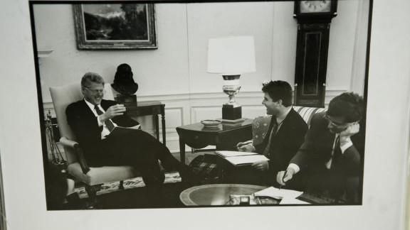 Mark Katz makes Clinton crack up, as seen in this framed photo Katz keeps on his desk.