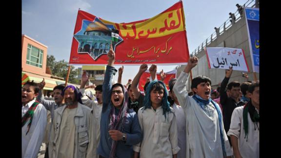 Afghan demonstrators shout slogans against Israel during an Al-Quds rally in Kabul.
