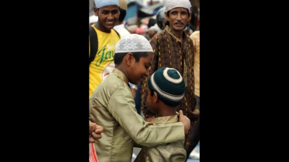 Indian Muslims offer prayers on the last Friday of Ramadan at Jama Masjid in Siliguri.