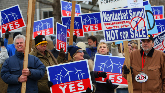 The Cape Wind project has drawn detractors and supporters, including these in Woods Hole, Massachusetts.